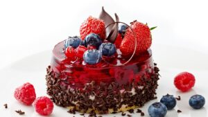 jelly strawberry blueberry chocolate cake